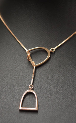 "The ""Annmarie""Lariat In Stainless Steel With 14k Plated Rose Gold."