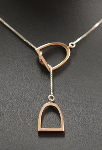 "The ""Annmarie"" Lariat In Stainless Steel with 14kt Plated Rose Gold Stirrup."