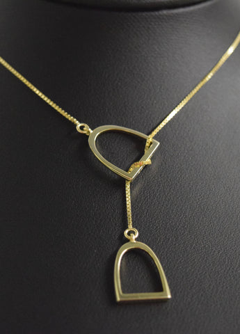 "The ""Annmarie"" Lariat In Sterling Silver with 14kt Plated Yellow Gold."