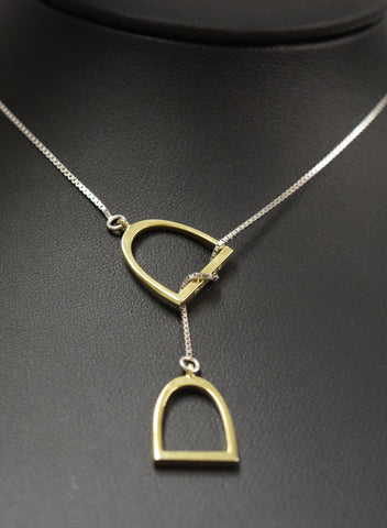 "The ""Annmarie"" Lariat Sterling Silver with 14kt Plated Yellow Gold Stirrups."