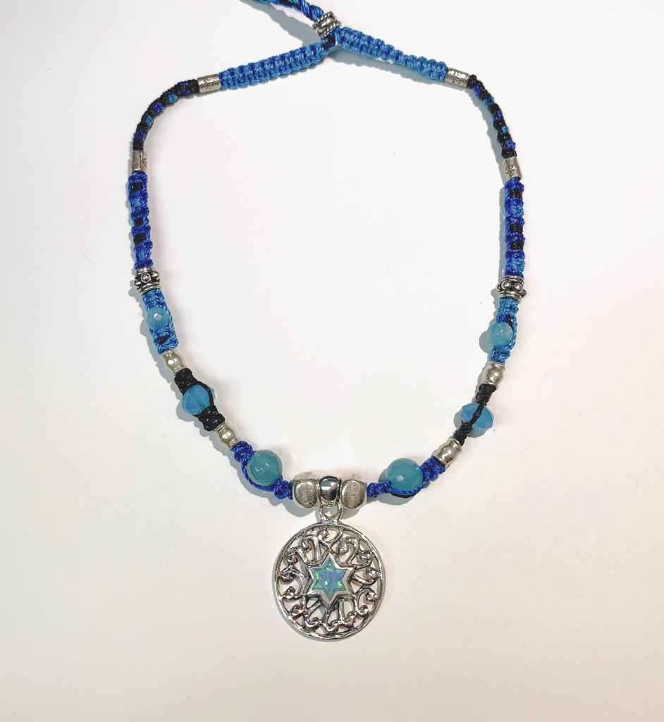 Isha Elafi Jay Necklace Blue,Black With a Blue Opal
