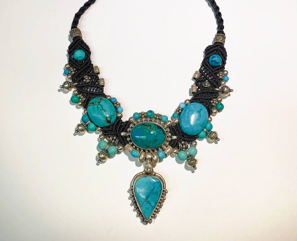 Isha Elafi New Chocker Black With Turquoise