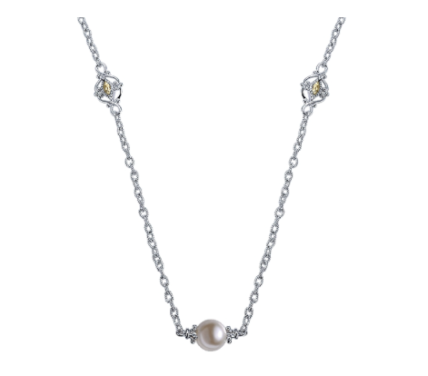 Gabriel & Co. Sterling Silver & 18k Yellow Gold Pearl by-the-Inch Necklace