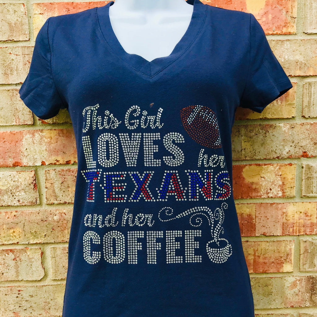 This girl loves  her Texans and her coffee Rhinestone T-Shirt