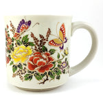 Butterfly Flowers Coffee Mug Vintage Spring Gold Accent 10oz Cup k600