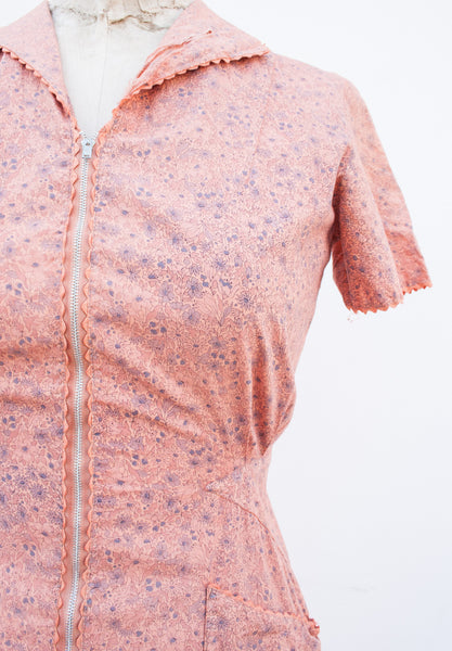 1950s Salmon Liberty Print Dress