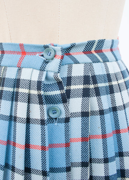 Uniform Plaid Wool Midi Skirt