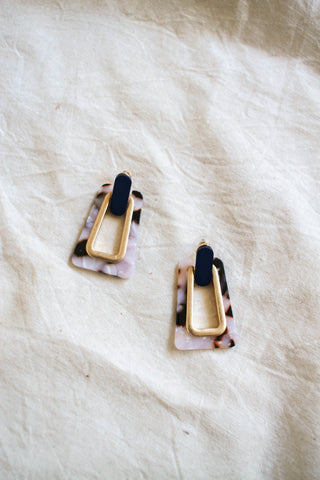 Modern Tortoise Gold Trim Earrings