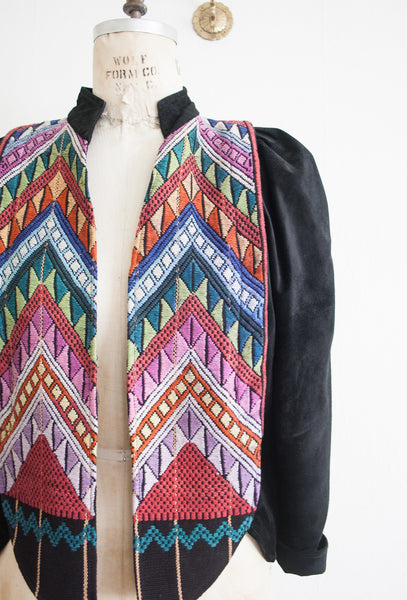 Chevron Embroidery Woven Suede Jacket