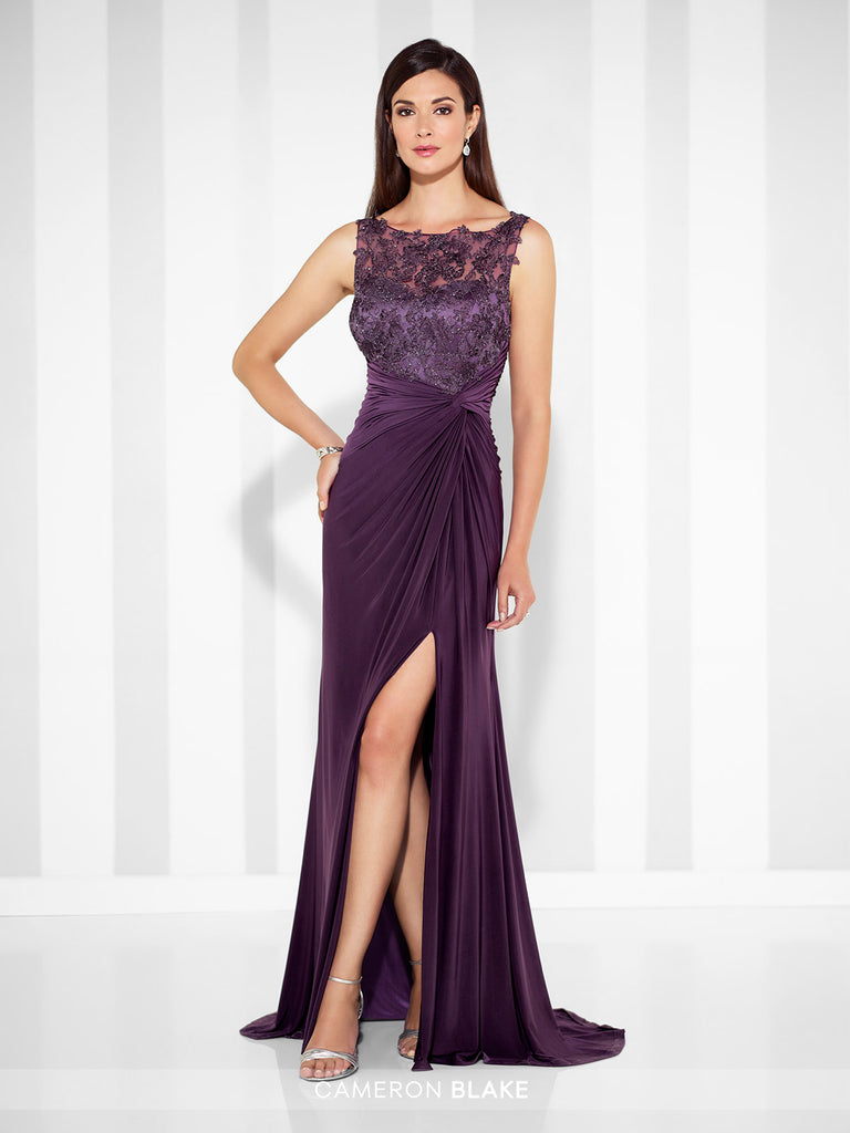 Sleeveless jersey fit and flare gown