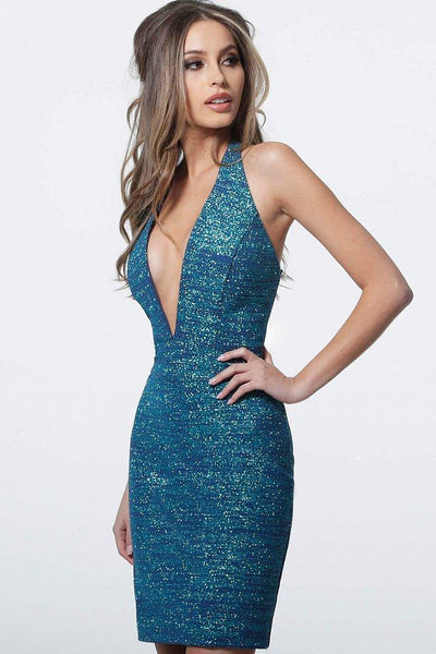PLUNGING HALTER NECK GLITTER SHEATH COCKTAIL DRESS