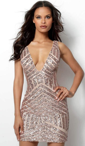 Form Fitting Embellished Plunging Neck Short Dress