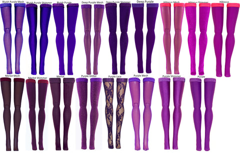 Dark Purple Doll Stockings for 1/6 Scale Figures - Phicen - Hot Toys - Cy Girls - Kumik - Triad - Dollfie - Momoko - Obitsu - Gildebrief French Fashion - Doll Clothes