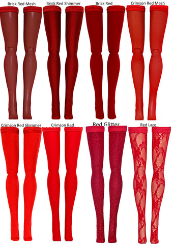 Red Doll Stockings for 1/4 Scale BJD's - Dollshe - Fairyland - Volks - Luts - Popovy - Sybarite - Doll Chateau - Jamie Show - Minifee - Doll Clothes