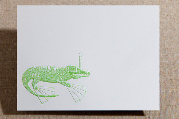 Flat Cards - Alligator with Snorkel Gear