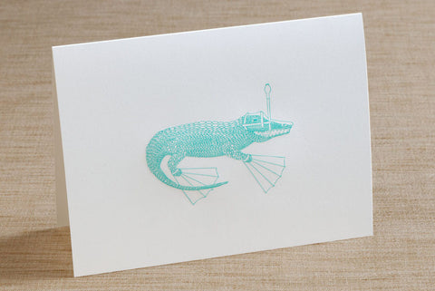 Folded Cards - Alligator with Snorkel Gear