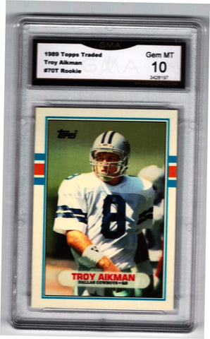 1989 Topps Traded TROY AIKMAN ROOKIE, Graded 10 GEM MINT #70T Cowboys, CardboardandCoins.com
