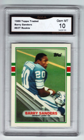 1989 Topps Traded BARRY SANDERS ROOKIE, Graded 10 GEM MINT #83T Lions !, Football Cards, Topps Traded, - CardboardandCoins.com
