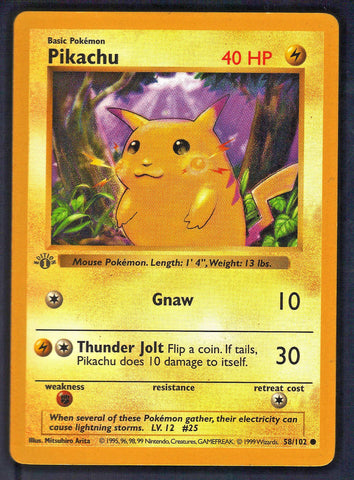1st EDITION SHADOWLESS PIKACHU 58/102 POKEMON FIRST BASE SET MINT!! RARE CARD!!, CardboardandCoins.com