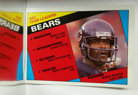 Bears Leaders, Walter Payton, Rushing, Running Back, RB, Bears, Chicago, Yards, Receiving, NFL, Topps, Football Card, 1984