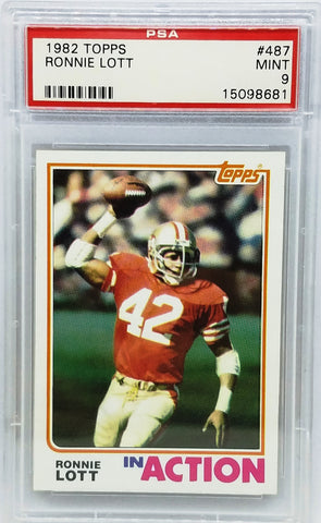 1982 TOPPS #487 RONNIE LOTT ROOKIE CARD PSA 9 MINT IN ACTION HOF DEFENSIVE BACK RC