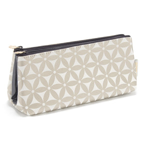 Folding makeup bag with transparent compartments in gold pattern