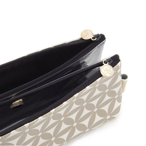 Folding makeup bag with separate compartments and magnetic fastening in gold