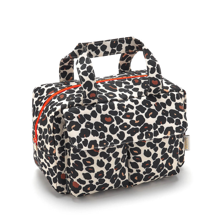 large wash bag in tan leopard by Victoria Green