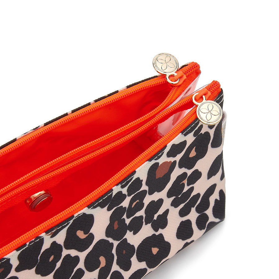 makeup bag with compartments interior tan leopard by Victoria Green