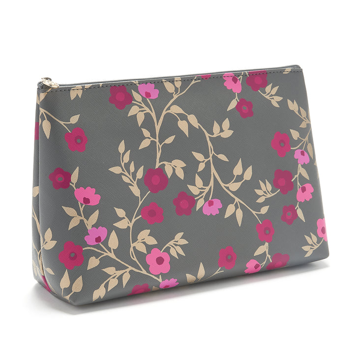 Large makeup bag in charcoal floral pattern