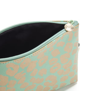Small makeup bag with zip fastening in green and gold leopard print