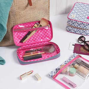 Beauty case filled with makeup and full size makeup brushes