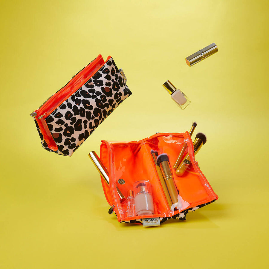 makeup bag with comaprtments for cosmetics tan leopard by Victoria Green