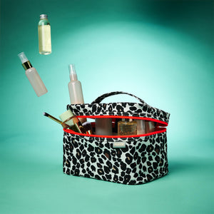 vanity case for toiletries tan leopard by Victoria Green