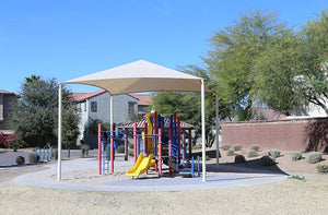 Hip Shade Structure Over Park in Residential Community