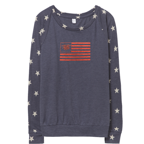 Ladies Star Slouchy Jersey Pullover with Trident in Flag