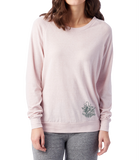 Ladies Rose Quartz Slouchy Eco-Jersey Pullover with Scrolly Trident