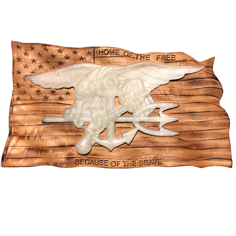 Home of the Free American Flag 3D Wood Carving