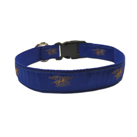 Dog Collar Royal Blue with Gold Trident - UDT-SEAL Store