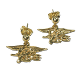 14K Gold SEAL Trident Post Dangle Earrings - UDT-SEAL Store  - 1