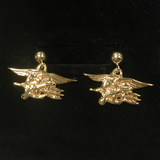 14K Gold SEAL Trident Post Dangle Earrings - UDT-SEAL Store  - 2