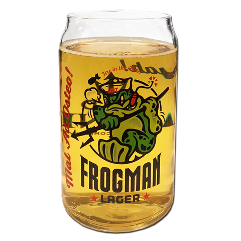 Frogman Lager Beer Can Glass