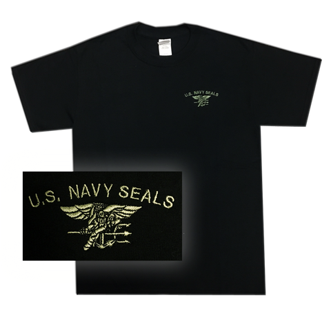Black Youth T-shirt with US Navy SEALs and Trident