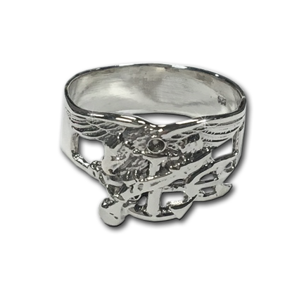 Sterling Silver Men's Large Trident Band Ring