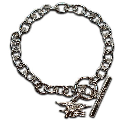 Sterling Silver Charm Bracelet with Trident - UDT-SEAL Store  - 1