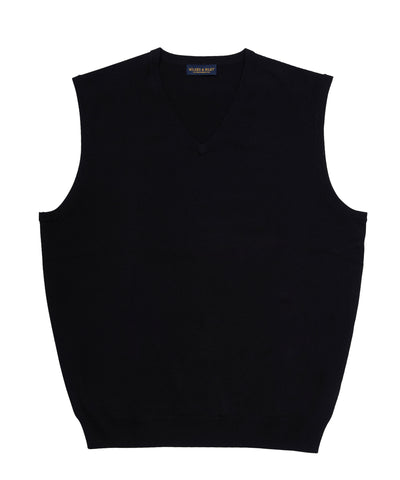 Zegna Baruffa Italian Merino Wool V-Neck Sweater Vest- Black