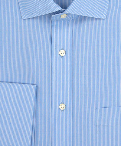 Wilkes and Riley Tailored Fit Lt Blue Fine Line English Spread Collar French Cuff Supima® Cotton Non-Iron Broadcloth Dress Shirt. Close up of buttons
