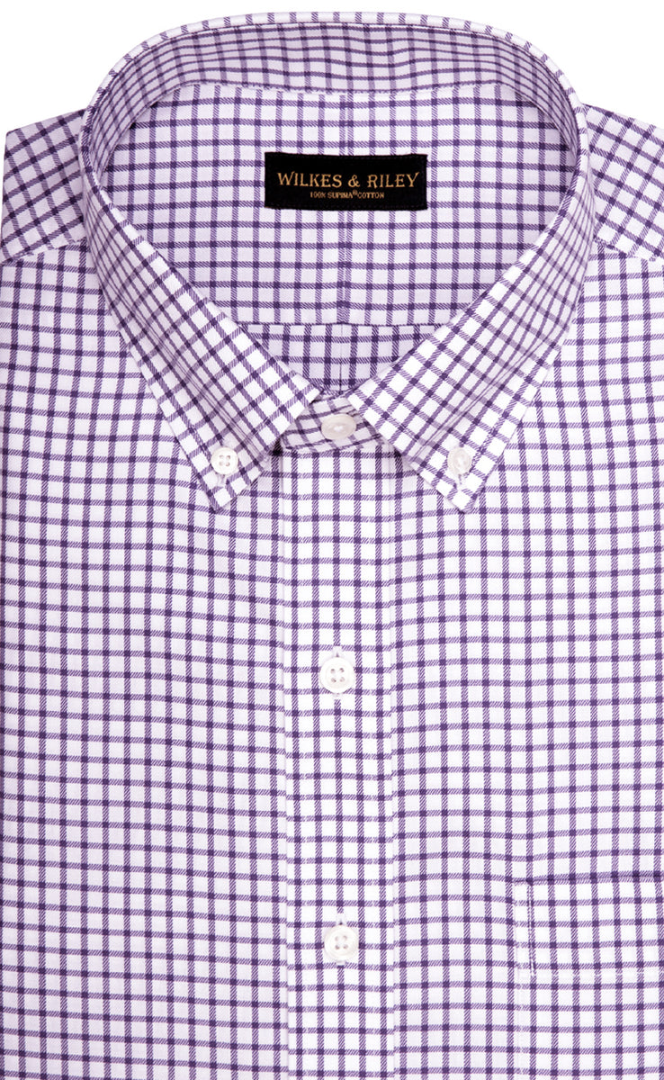 Wilkes & Riley Purple Twill Check Button Down