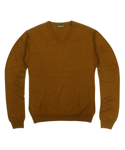 100% Pure Merino Wool Zegna Baruffa V-Neck Sweater - Rust