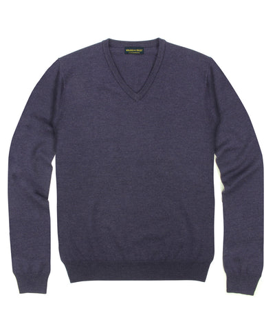 100% Pure Merino Wool Zegna Baruffa V-Neck Sweater - Plum